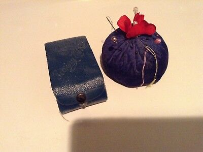 Antique Pre-1920's  Sewing Kit Case Leather and Handmade Velvet pin cushion