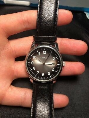 Vintage Mens Lorus Watch Leather Band Working