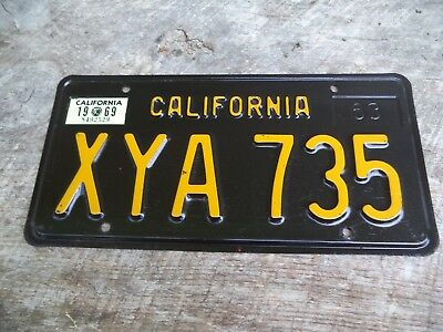 Nice Near Mint 1963 California Black & Yellow License Plate XYA 735