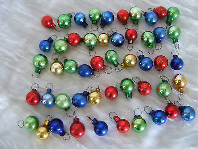 50 Vintage Tiny Glass Round Feather Tree Ornaments
