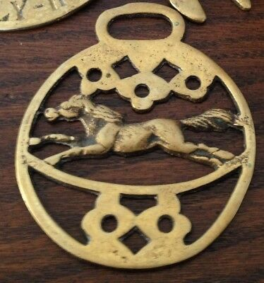 "Vintage Brass Bridle or Tack Horse Medallion - Running Horse 3.5"" x 3"""