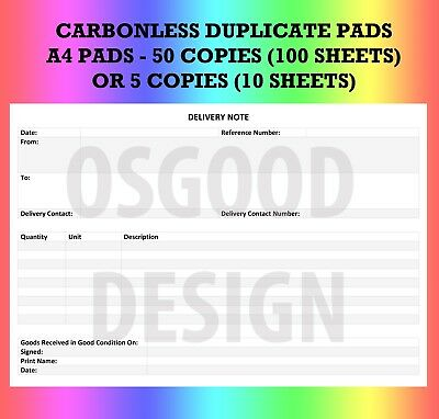 personalised invoice book pad duplicate receipt order sales customer