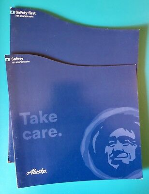 2 Alaska Safety Cards--737-800/900 With Rafts --First Class And Economy--06/16