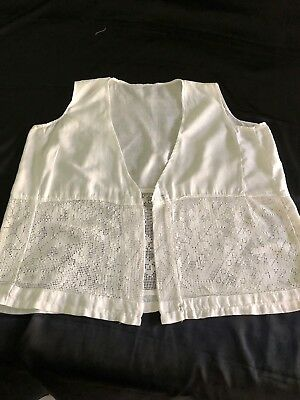 Antique Victorian Ladies cotton lace crochet camisole top