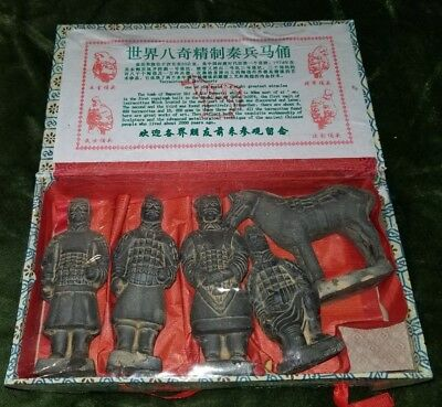 Lot of 4 Chinese Terracotta Army Soldier Warrior Clay Statue Figurine + Horse