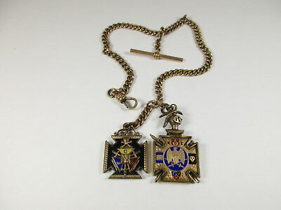 Antique KNIGHTS of Golden Eagle Pocket Watch Chain with Two Pendents on Chain...