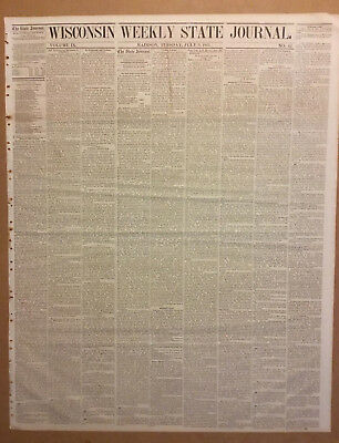 Wisconsin State Journal 1861 Civil War. President Lincoln's Message. New Orleans