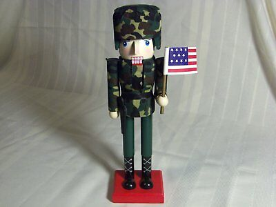 """Camo Army Military Soldier Wood Nut Cracker 10"""" Collectible Christmas Decoration"""