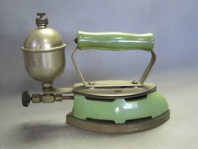 Antique Gas Powered Iron w Green Enamel Beautiful Possibly Coleman
