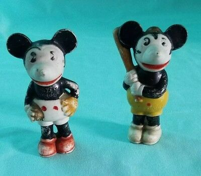 Vintage Mickey & Minnie Mouse Disney Figurines Made in Japan for Walt E Disney