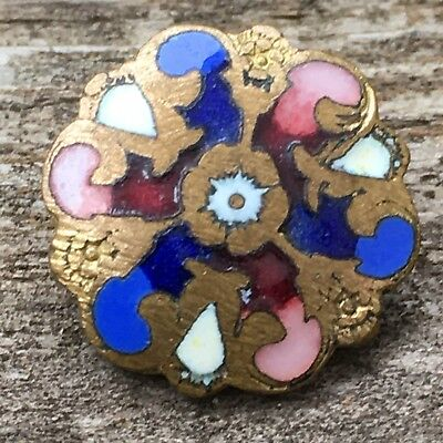 """Antique Victorian Champleve metal enamel buttons scallop edge matching pair 5/8"""""""