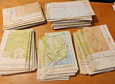 1940's HUGE LOT of 143 Sectional Aeronautical Charts Aviation Collectible Maps