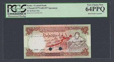 Syria Syrie One Lira 1977/AH1397 P99s Specimen Uncirculated