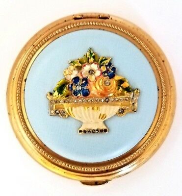 Vintage USA Baby Blue Leather Powder Compact with Enameled & Jeweled Basket Lid.