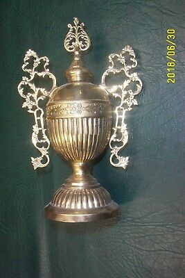 Antique cast iron wood parlor stove finial solid brass
