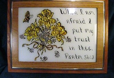 Hand Made ? Crinkled Gold Foil Picture Flowers & Butterfly Psalm 56:3