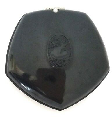 Vintage NOR-LOC Black Powder Compact with Embossed Cameo on Lid. France.