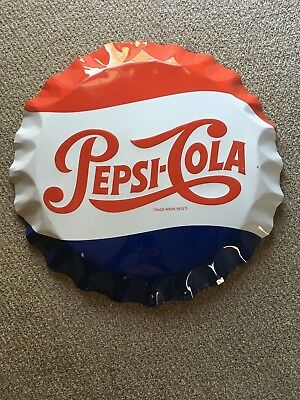 "Vintage Pepsi Cola Bottle Cap Sign 27"" original"