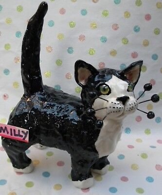"""Tuxedo cat """"Milly"""" Original WhimsiClay by Amy Lacombe"""