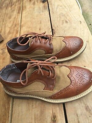 Kenneth Cole Reaction Boys Sz 3.5 Brown Dress Oxfords Shoes Mix Fabric