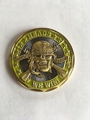 """heads We Win Tails You Lose"" Challenge Coin Us Military Gift Usmc Usa Usn Usaf"