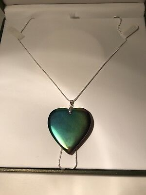 "Large Rainbow Haematite Gemstone Healing Heart 24""Silver Necklace"