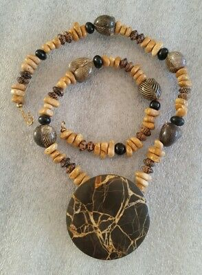 "25.5""vtg African Necklace Large 2 3/8"""" Granite Pendant, Mauritania Zebra Shells"