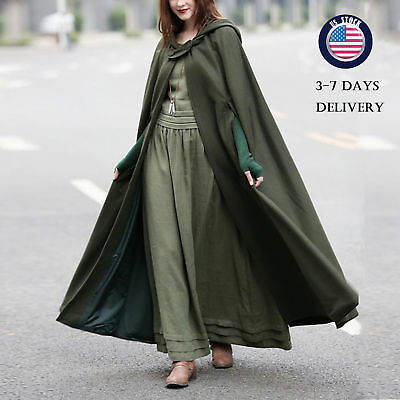 Womens Coats Long Ankle Length Oversize Cosplay Halloween Warm Cloaks Jacket US