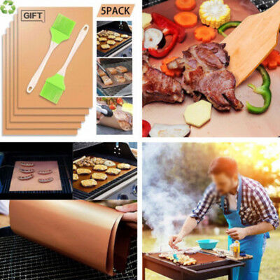 2/6Pcs Copper Grill  BBQ Pad Non Stick Barbecue Mat Cooking Chef Bake Reusable
