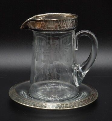 Antique Sterling Silver Cut Crystal Small Pitcher W/ Underplate Arts & Crafts
