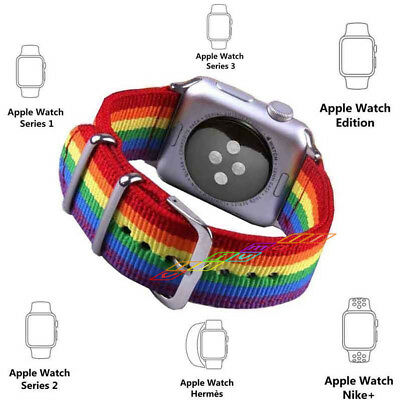 For Apple Watch Band 44mm 40mm 42mm 38mm Rainbow Nylon Fabric Wrist Strap Bands