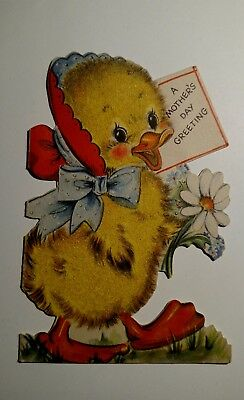 Vintage 1948 Mother's Day Greeting Card Die Cut Flocked Chick Duckling Unsigned