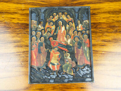 18th C Antique Religious Painted Icon Dormition Orthodox Art Mary Mother of God