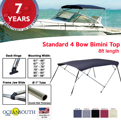 "BIMINI TOP 4 Bow Boat Cover Black 73/""-78/"" Wide 8ft Long With Rear Poles"