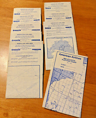 LOT Vintage 1970's American Airlines Collectible Pilot Navigation Charts