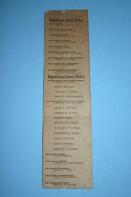 Antique 1867 Oh Campaign Governor Pres Rutheford Hayes Republicn Election Ballot