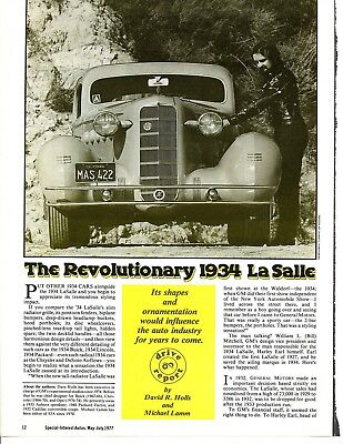 1934 LASALLE 350 COUPE 8 page Article