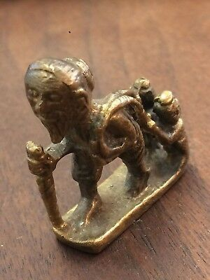 Antique Vintage Cast Brass Bronze MEN AND CHILD Figure South East Asian Chinese