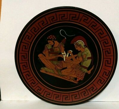 Hand Painted Vintage Greek Plate Achilles Tending The Wound Of Patroclus