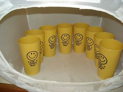 VINTAGE~LOT 8~GOLD PLASTIC DRINK TUMBLERS~HAVE A HAPPY DAY SMILEY FACE~1970s ERA
