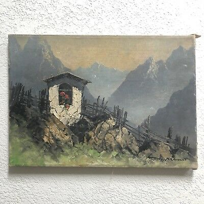 Antique Original European Mountain Landscape Oil Painting Signed Early 1900s