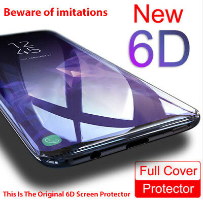 6D Screen Protector Samsung Galaxy S8 S9 Plus Note 8 Adhesive 9H Tempered Glass