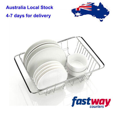 Adjustable Dish Drying Rack Over Sink Stainless Steel Dish Drainer 45x25x12cm