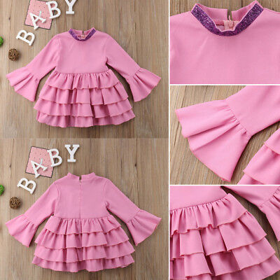 Toddler Autumn Kids Baby Girls Outifts Solid Dress Princess Party Dresses 6M-5Y