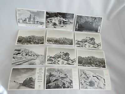 12 RPPC B/W Postcards in or near Tucson, AZ - San Xavier, Dragoon Mts, TX Canyon