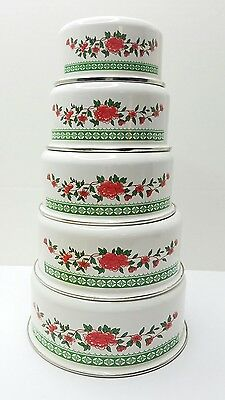 Enamelware Nesting Bowl Set of 5 Red, Green & White Floral EXCELLENT CONDITION