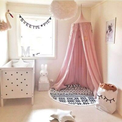 Kid Baby Bedcover Bed Canopy Mosquito Net Tent Cotton Curtain Bedding Round Dome
