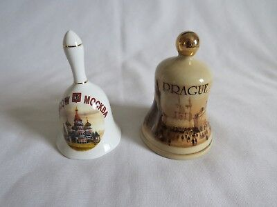 Two Vintage Bells - One From Prague & One from Moscow - Each About 4 Inches Tall