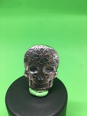 2 Oz Day Of The Dead Skull- Hand Poured 999 Pure Silver Bullion