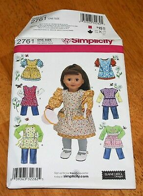 SIMPLICITY Pattern #2761 Doll Clothing for 18 Inch Dolls - Pre-cut 6 Designs GUC